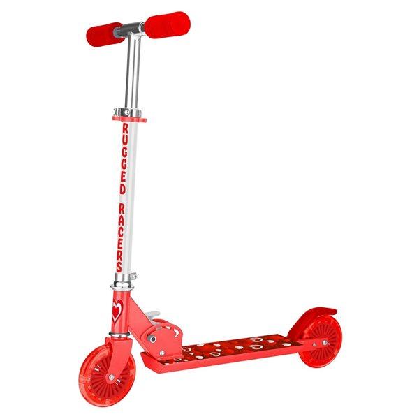 Trottinette pour enfants de Rugged Racers rouge à 2 roues avec imprimé de cœurs et lumières à DEL