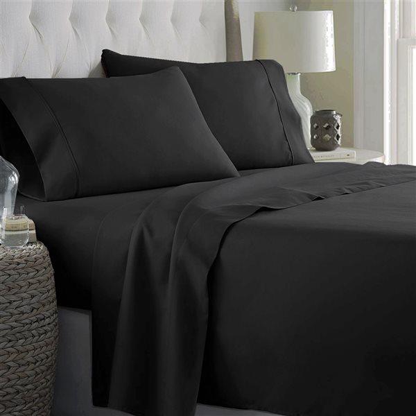 Ensemble de draps 4 pièces pour grand lit Marina Decoration en mélange de coton, noir