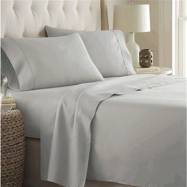 Ensemble de draps 4 pièces pour grand lit Marina Decoration en mélange de coton, argent