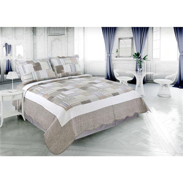 Marina Decoration Taupe Plaid Twin Quilt Set - 2-Piece