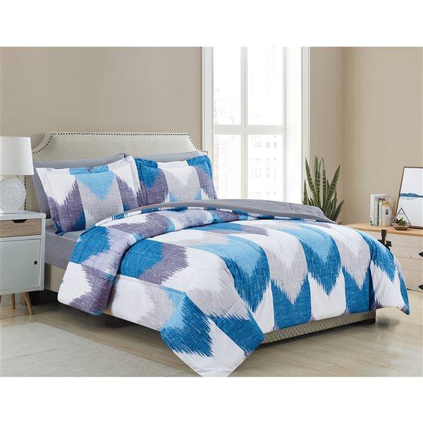 Ensemble douillette au motif géométrique bleu et blanc Marina Decoration pour grand lit, 7 pièces