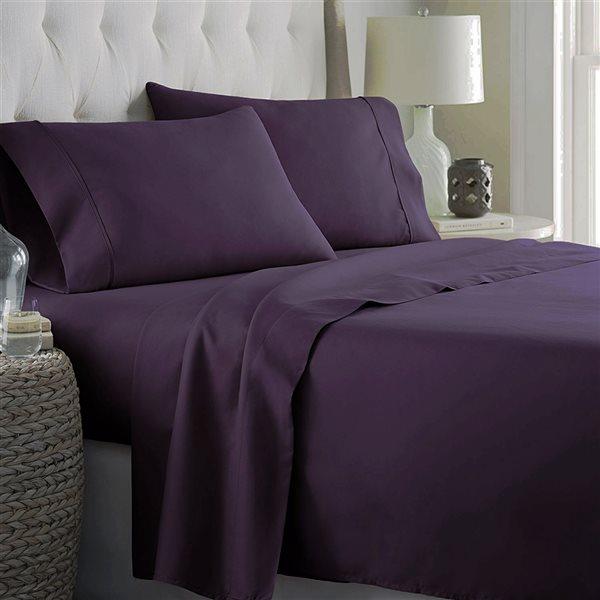 Ensemble de draps 4 pièces pour très grand lit Marina Decoration en mélange de coton, aubergine