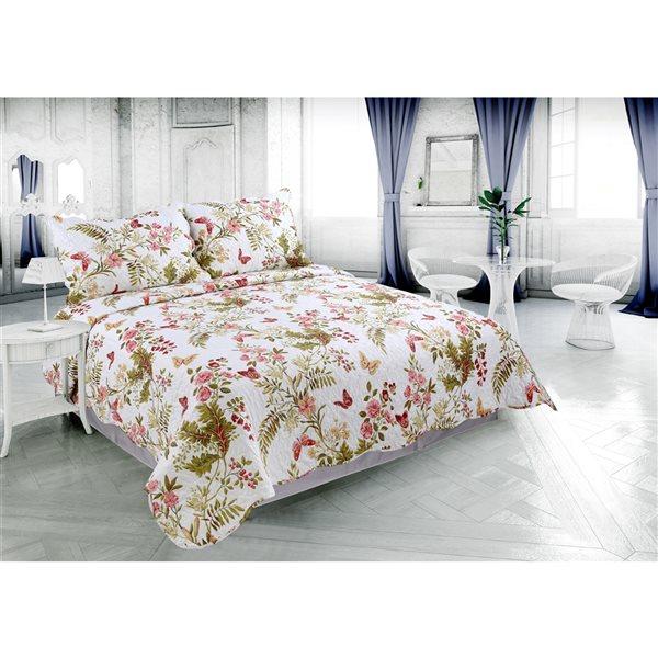 Ensemble de courtepointe au motif floral blanc et rouge Marina Decoration pour lit une place, 2 pièces