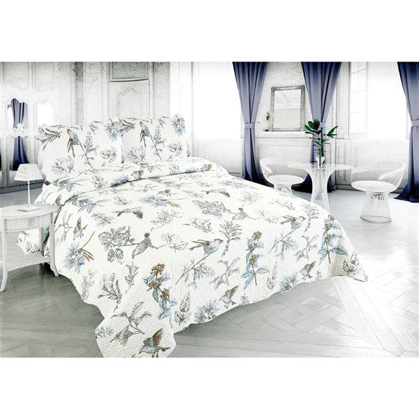 Ensemble de courtepointe au motif floral blanc et bleu Marina Decoration pour lit une place, 2 pièces