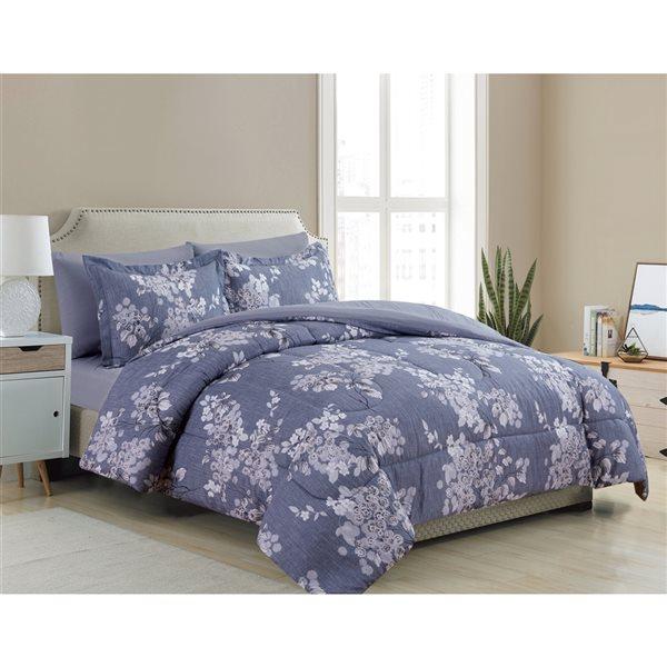 Ensemble douillette au motif floral bleu-gris Marina Decoration pour très grand lit, 7 pièces