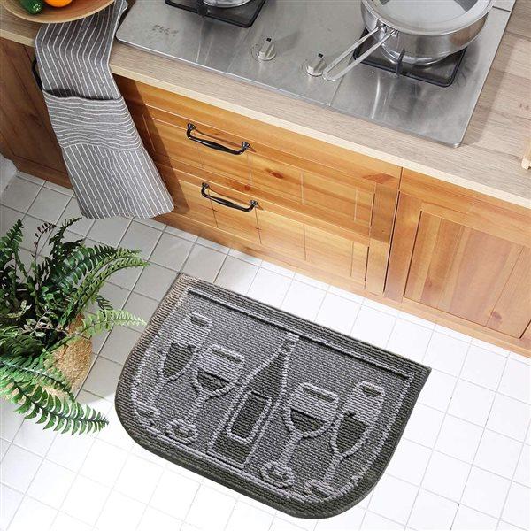 Tapis de cuisine noir antidérapant en demi-line de 18 po x 30 po par Nova Home Collection, verres de vin