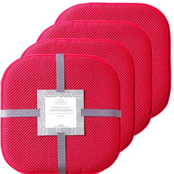 Coussinet de chaise rouge en mousse à mémoire et caoutchouc antidérapant de Marina Decoration, ens. de 4