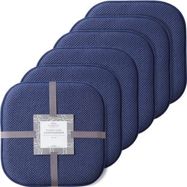 Coussinet de chaise bleu marine en mousse à mémoire et caoutchouc antidérapant de Marina Decoration, ens. de 6