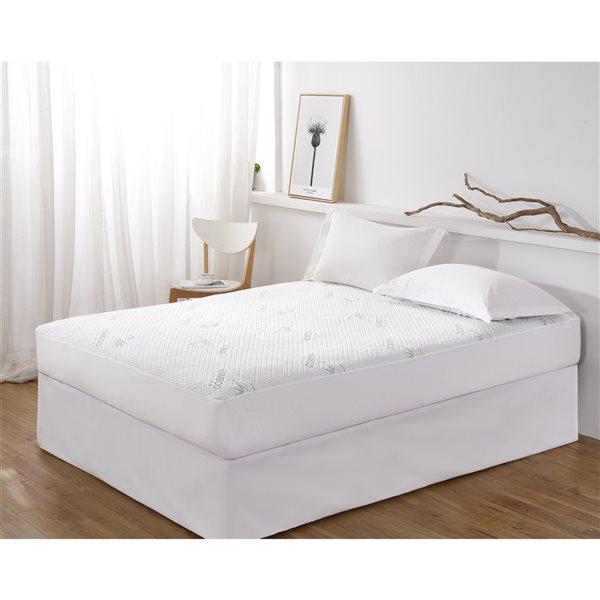 Protège-matelas pour lit simple par Marina Decorationen rayonne de bambou, hypoallergénique, résistant à l'eau, 16po P